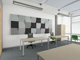 Wizualizacja. Panele Cube w biurze.