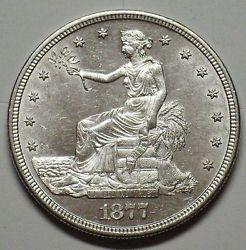 1877 S Trade Silver Dollar Grading Gem BU Blast White Z624