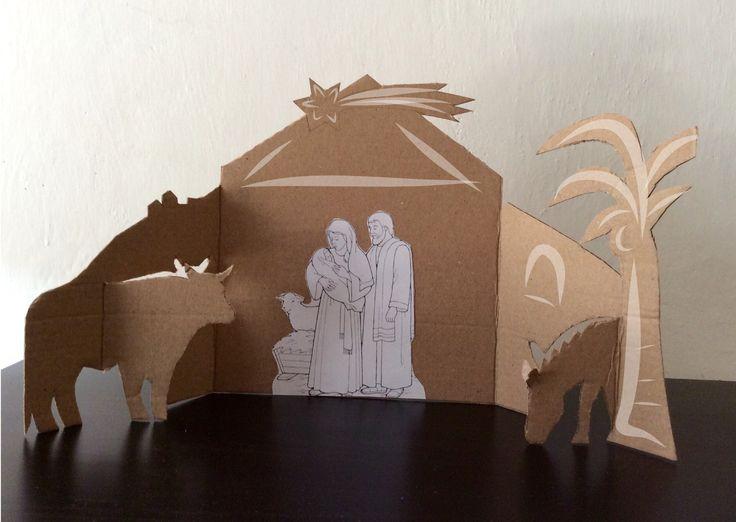 Presepe di cartone in 3D
