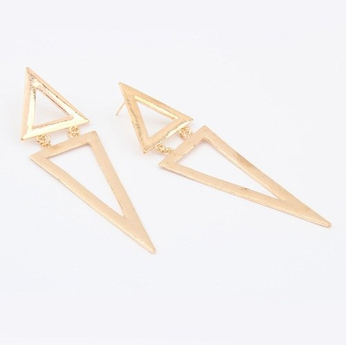 (Min order$10)Free shipping!Europe and the United States exaggerated triangular metal fashion long earrings (gold)!#91659 on AliExpress.com. $1.75