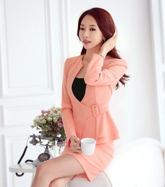 Nuevo 2016 la Caída Del Otoño Mujeres Traje de Negocios Formal Para Señoras de la Oficina Work Outfit Pink Blazer Escudo y Falda Conjunto Elegante