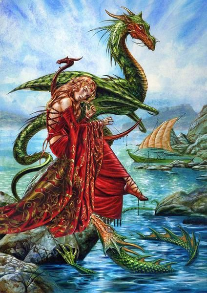Dragon Charmer Card - Viking Maiden Charms Norse Dragons Medieval Greeting CardBlank inside for sender's own message.Beautiful Artwork by UK Artist Briar - prin