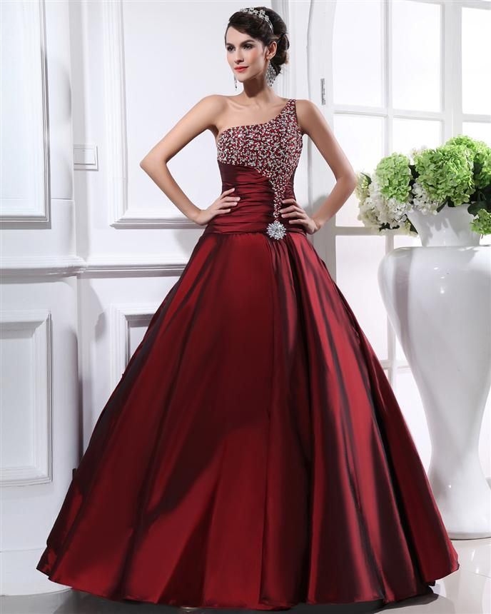 One shoulder beading burgundy prom dress prom dresses for Burgundy and gold wedding dress