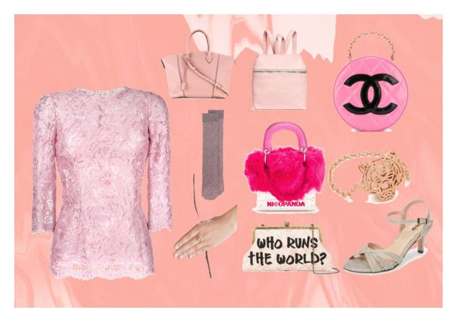 """Pink Wear"" by justinallison ❤ liked on Polyvore featuring Dolce&Gabbana, Delfina Delettrez, Golden Goose, Sarah's Bag, Nicopanda, Pink Paradox London, Kenzo, Chanel, Louis Vuitton and Kara"