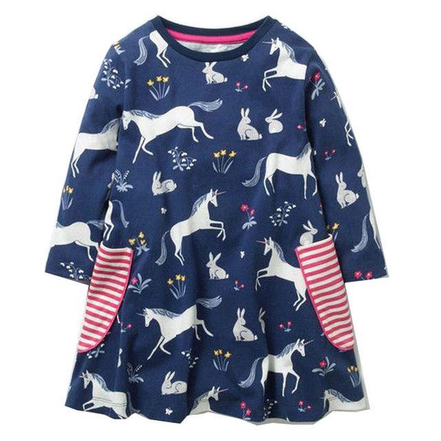 Toddler Girl Baby Long Sleeve Dinosaur Dress Princess Party Dresses Kids Clothes