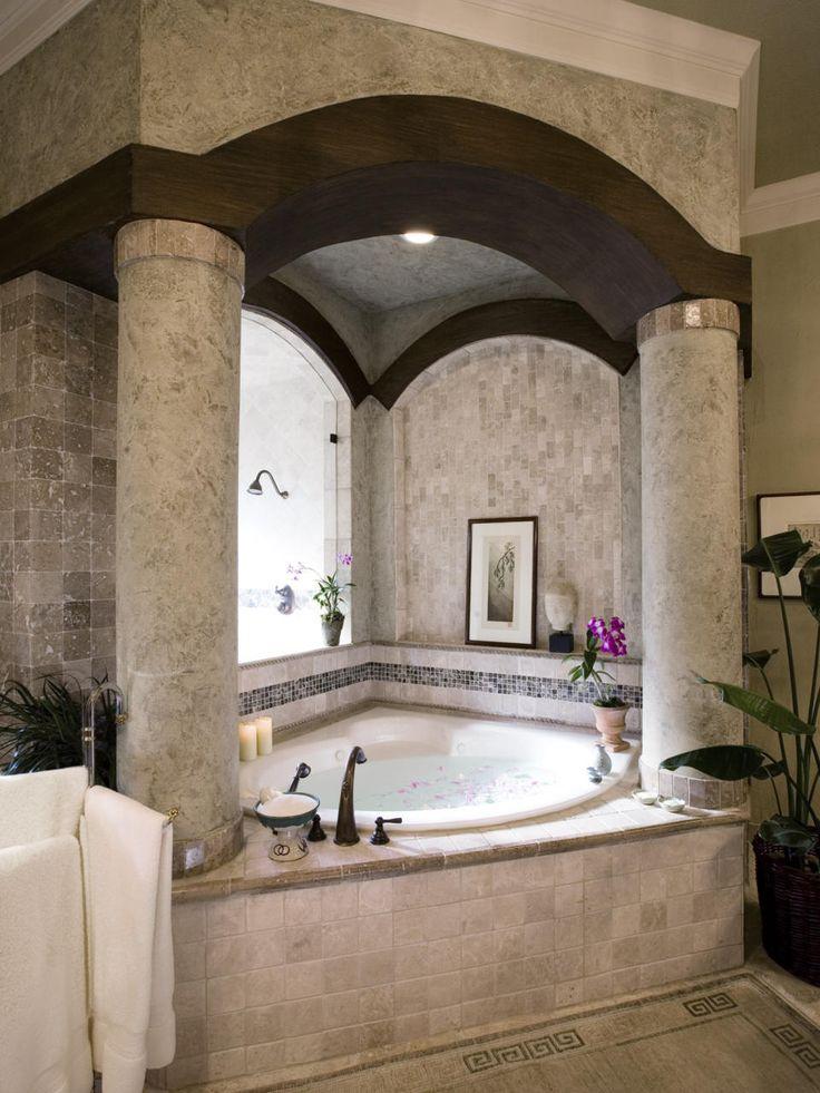 bathroom design awesome and beautiful classic corner bathtub with elegant big round column and chic