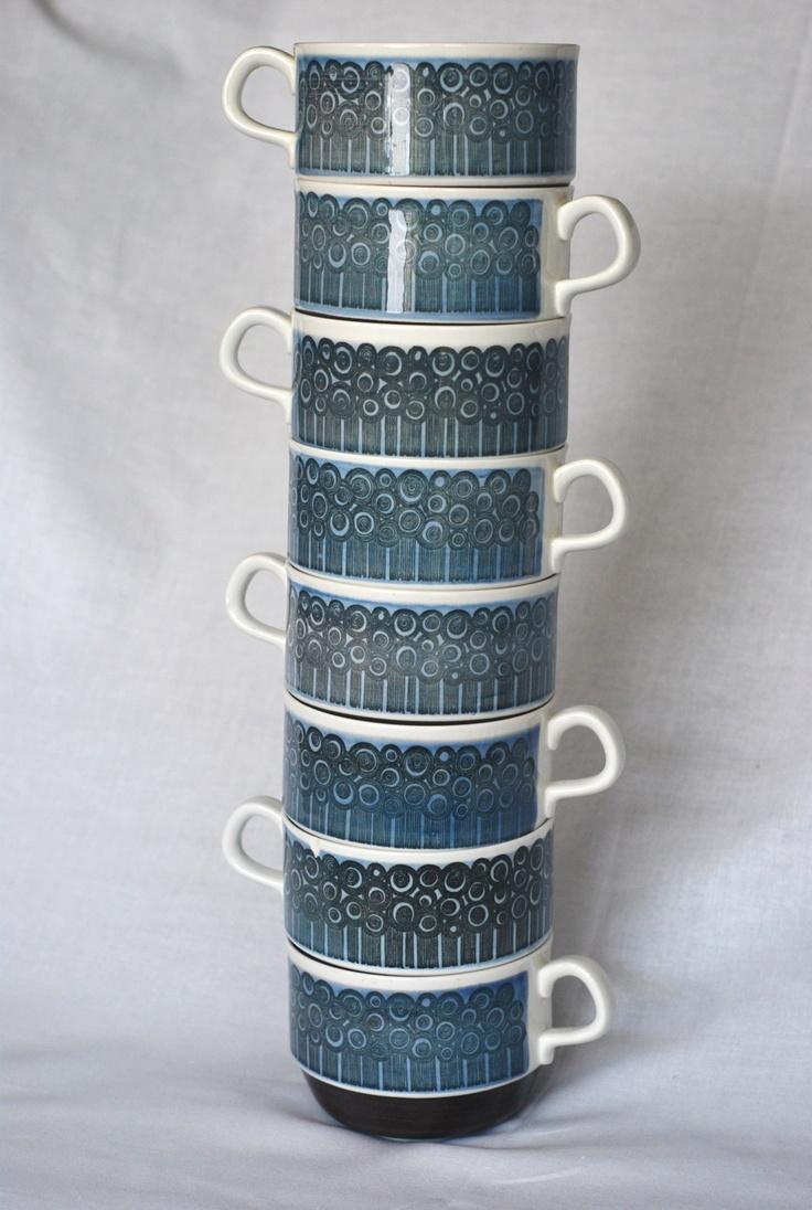 Vintage Rorstrand Amanda Stacking Mugs (Set of 8). $45.00, via Etsy. New lowered price!
