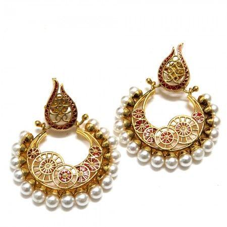 Flames Jaali Ethnic Earrings - Red