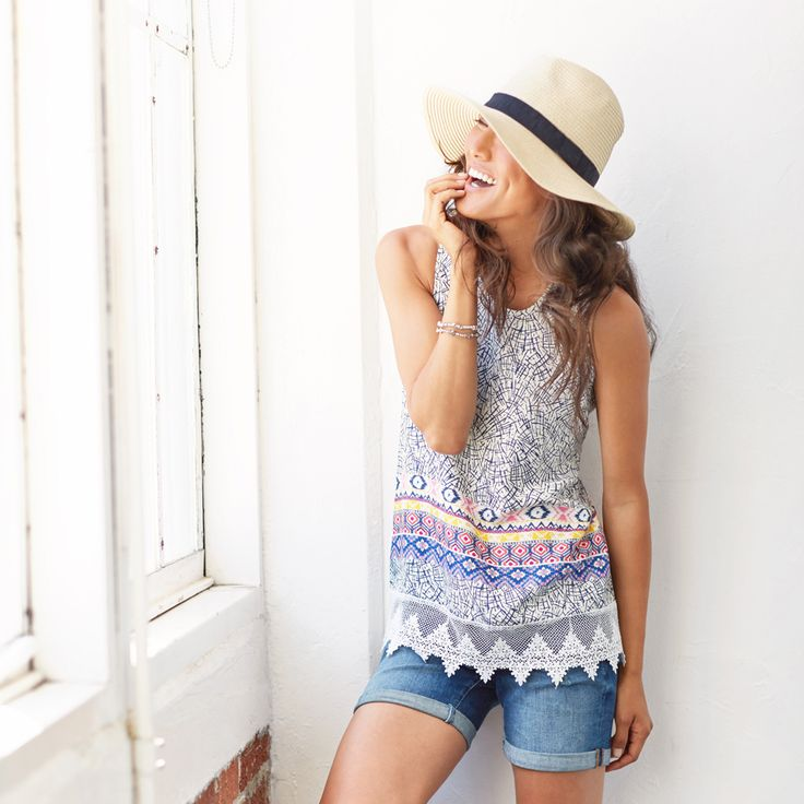 Cutoff jean shorts are a summer essential. Pair them with a flowy boho blouse and strappy sandals for days spent by the boardwalk. If you're feeling more low-key, wear them with your favorite T-shirt and sneakers for a laid-back look. Love this outfit? Ask your Stitch Fix Stylist to include casual-cool pieces in your next delivery!