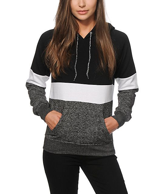 Step up your style with the comfort of this thick pullover hoodie crafted with a soft fleece construction and a black, white and charcoal colorblock design.