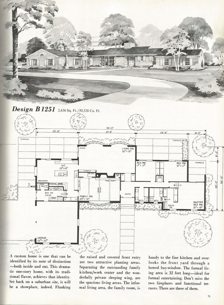 25 best ideas about vintage house plans on pinterest for Mid century floor plans
