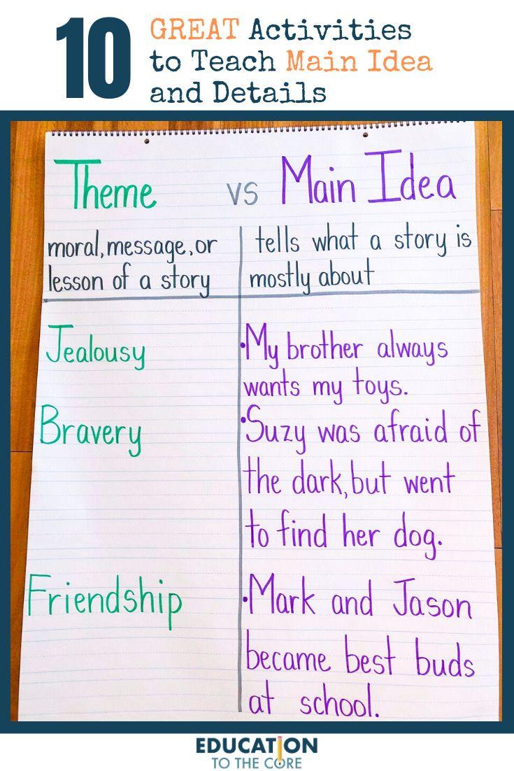 10 Great Activities To Teach Main Idea And Details In 2021 Teaching Main Idea Teacher Favorite Things Teaching