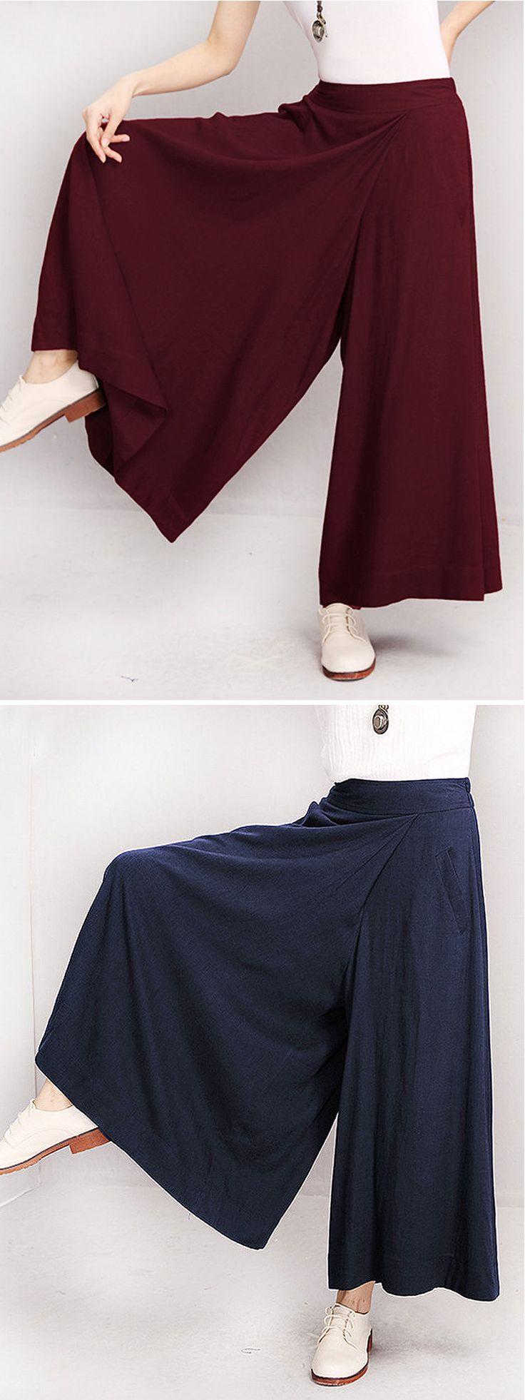 US$ 23.49 O-NEWE Elastic Waist Pure Color Wide Leg Pants