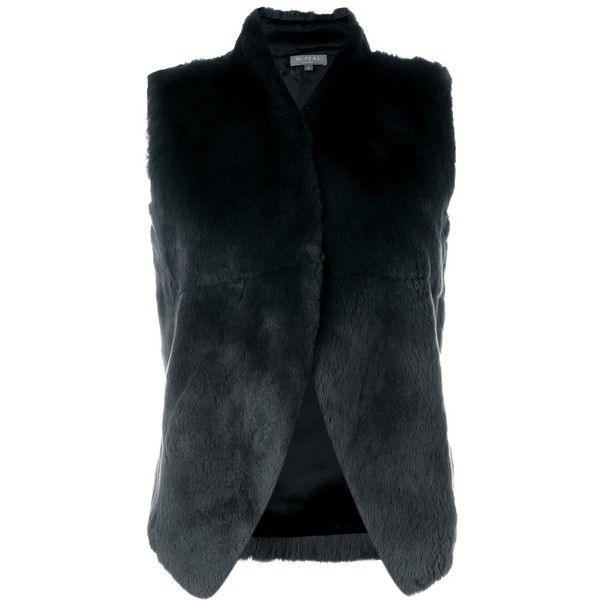 N.Peal Rabbit Fur Gilet ($1,163) ❤ liked on Polyvore featuring outerwear, vests, grey, gray vest, rabbit fur vest, grey vest and rabbit vest