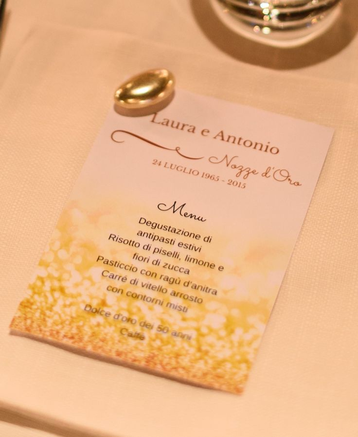 Menu for a golden anniversary in Padua