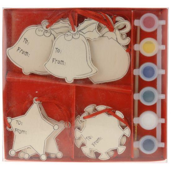 Houten kersthangers schilder set Kerstbal. Deze set bevat 12 houten hangers van…