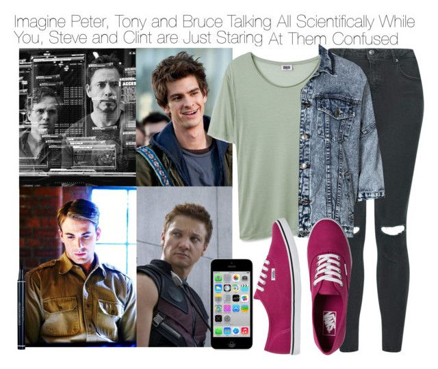 Imagine Peter, Tony and Bruce Talking All Scientifically While You, Steve and Clint are Just Staring At Them Confused by fandomimagineshere on Polyvore featuring polyvore fashion style Boohoo Topshop Vans Christian Dior women's clothing women's fashion women female woman misses juniors