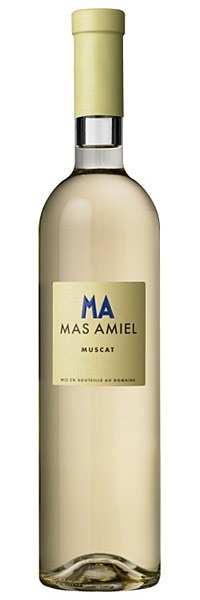 Mas Amiel Muscat 2009 - A pure pleasure wine, brimming with exotic, opulent notes of mango, baked pear, summer blossom and overripe peach. Luscious honey and caramel flavours - from 6 years' bottle age - add to the delicious complexity.  Enjoy as an aperitif, post-prandial treat, or with fruit-based desserts.  15.5% ABV