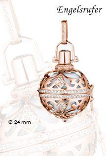 Llamadores de ángeles de plata de ley bañada en oro rosa de la firma Engelsrufer. Con circonitas engastadas en galería por el contorno de la jaula de plata y una bola sonora llamador de ángeles.