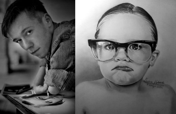 Ondanks dat hij geen armen heeft maakt hij prachtige, realistische tekeningen