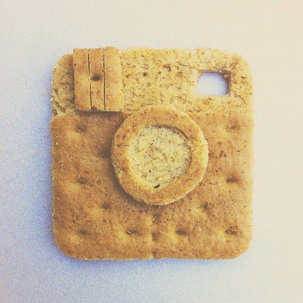 'Insta-graham' - Graham cracker, carved with a pocket knife.