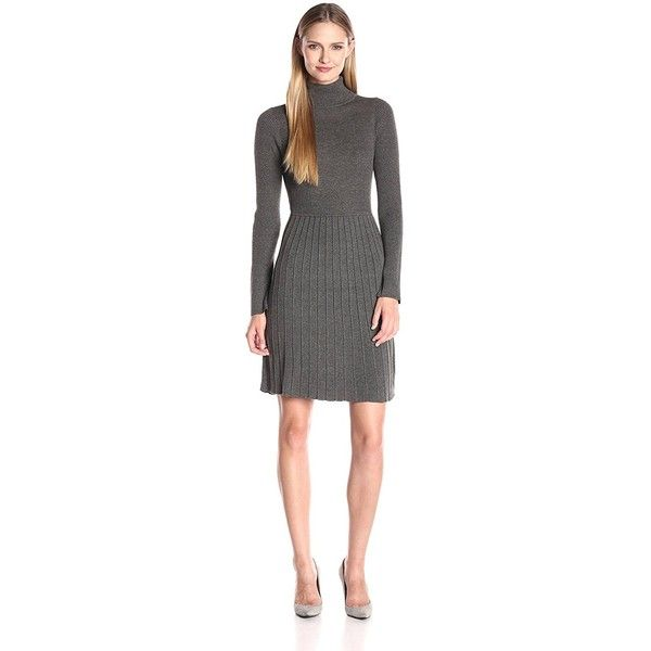 Adrianna Papell Women's Turtle Neck Longsleeve Solid Pleat Dress ($45) ❤ liked on Polyvore featuring dresses, turtle neck sweater dress, long sleeve sweater dress, long sleeve turtle neck dress, long sleeve turtleneck dress and turtleneck dress