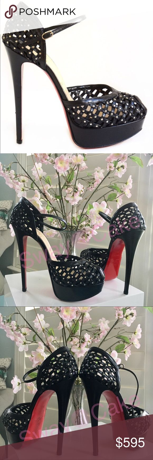 Christian Louboutin Mrs Kid 150 Follow the cage trend with these sultry leather platform sandals. Woven lattice with flat silver-tone stud accents.  * Christian Louboutin * caged leather / studded upper * peep toe * ankle strap with buckle closure  * Iconic Red Leather Sole * 150mm covered stiletto heel * included: box and dustbag  * leather lining * Retailed for 1395 * EUC - worn twice only - fit true to size, in my opinion      Price firm on here. Christian Louboutin Shoes