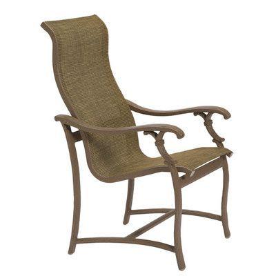 Tropitone Ravello Patio Dining Chair Finish: Mocha, Fabric: Sparkling Water