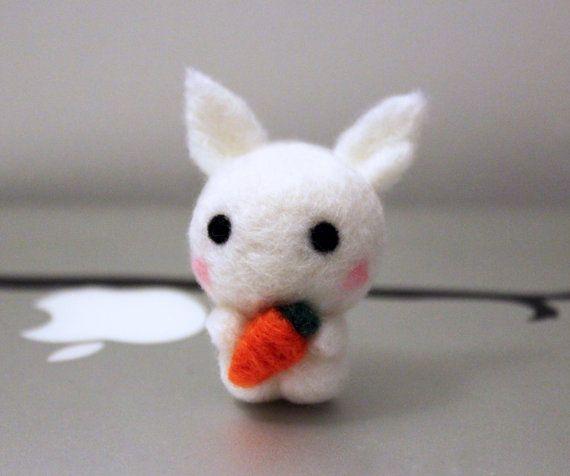 Cute Kawaii Mini Bunny Rabbit Holding Carrot Plush by CafeDeYume