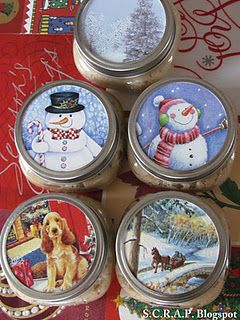 Recycle greeting cards used to decorate jar lids ~ lots of other ideas at this site