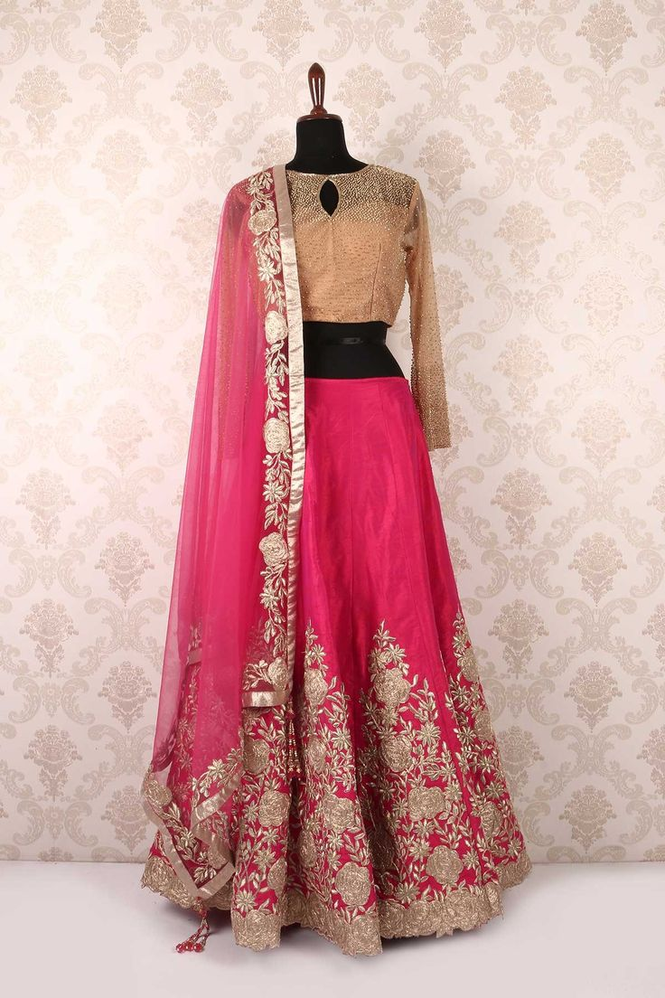 Dazzling #beige and hot #pink #ghagra choli with embellishment and #zari work-GC458
