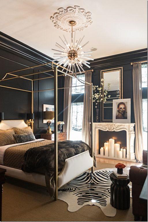 black walls sputnik lights goldbrass are all trending in 2015 - Bedrooms Interior Design Ideas
