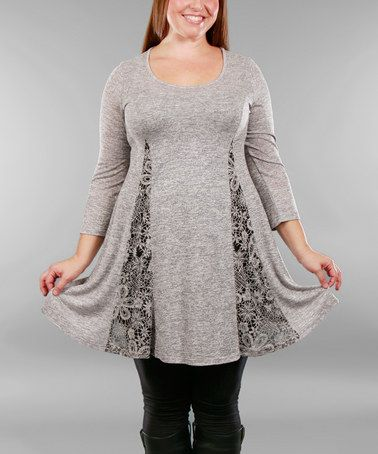 Loving this Gray Lace-Insert Tunic - Plus on #zulily! #zulilyfinds
