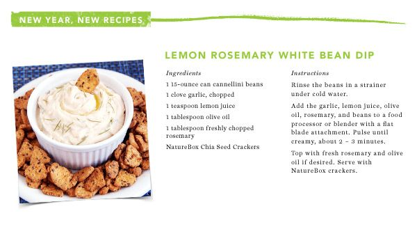 Lemon Rosemary White Bean Dip courtesy of @NatureBox: Recipes Food, Daily Recipes, Naturebox Recipes, 122313 Recipe2 Jpg 600 336, Favorite Recipes