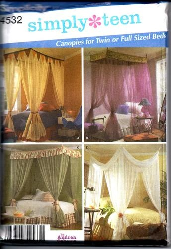Simplicity 4532 Simply Teen Canopies for Twin or Full Size Beds Uncut | eBay