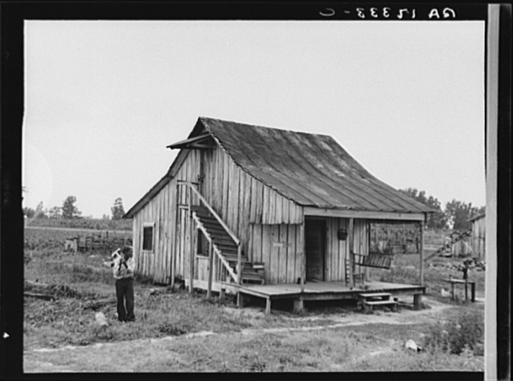 Cottonworker's cabin with outside stairway and loft. Near Blytheville, Arkansas 1937