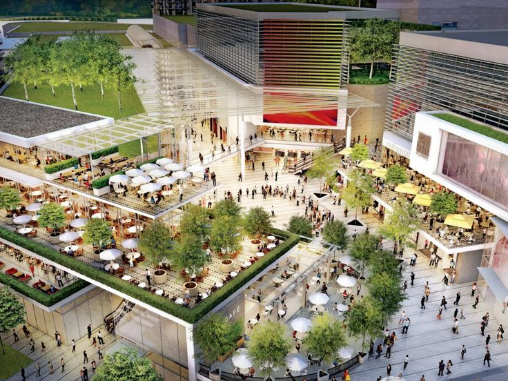 Public spaces and outdoor galleria shopping area.