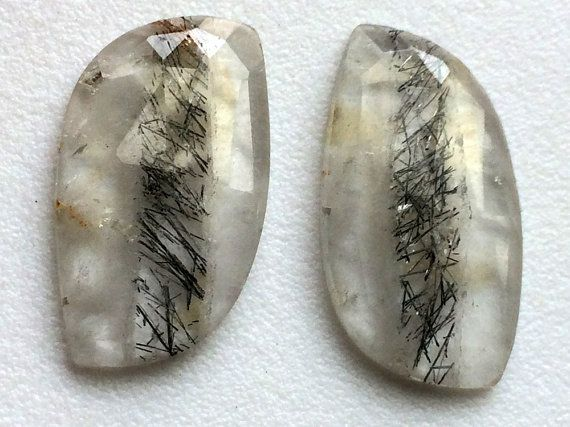 Rutile Flat Back Cabochons 2 Pc Matched Pair by gemsforjewels