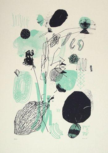 MILLE BOULE Serigraphie 2 couleurs sur papier naturel 225 gr 32x45 cm | Edition limitée à 30 ex Numérotée et signée 40€  #erone