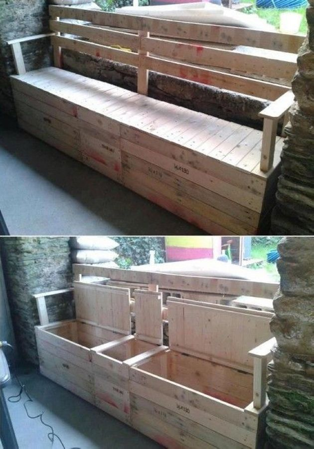 pallet patio bench with storage