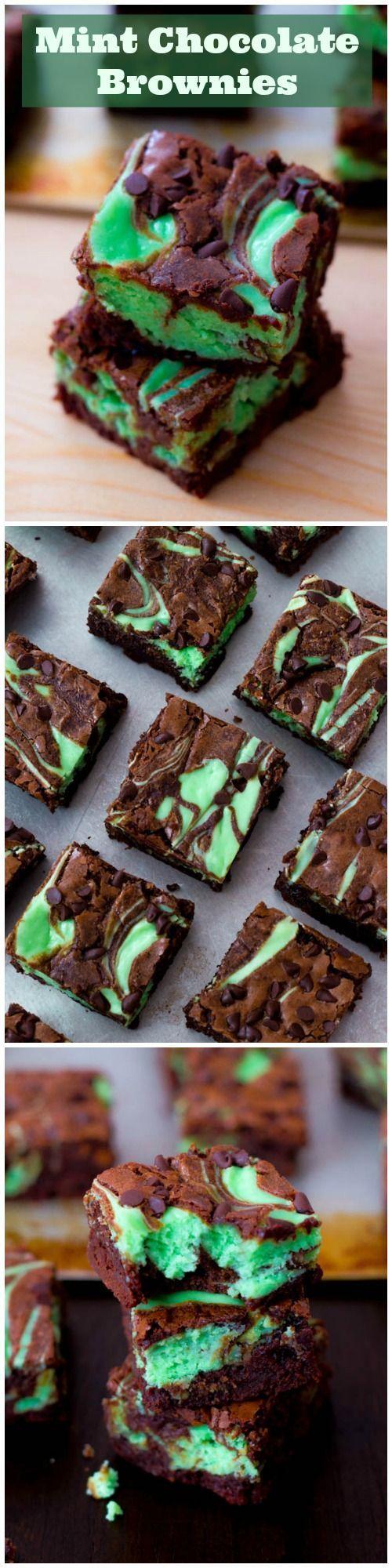 Swirly, twirly, fudgy, minty, cheesecake goodness. I love these decadent mint chocolate brownies!