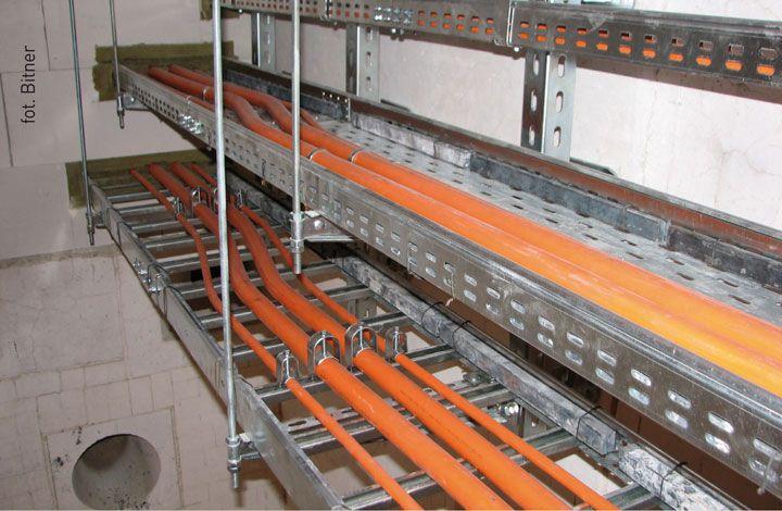 Zespoły kablowe wewnątrz pieca przed spaleniem