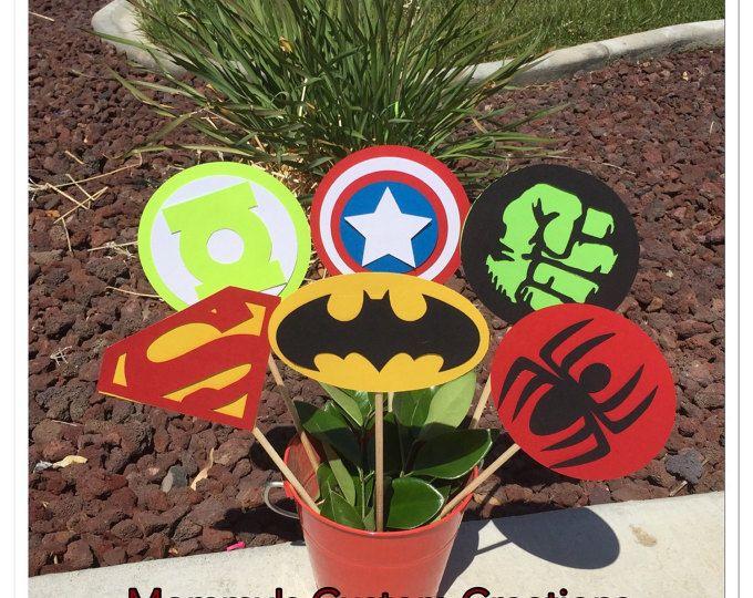Superhéroe selecciones de centro de mesa, batman, superman, spiderman, hulk, linterna verde, capitán centros de Estados Unidos, super héroe centerpices