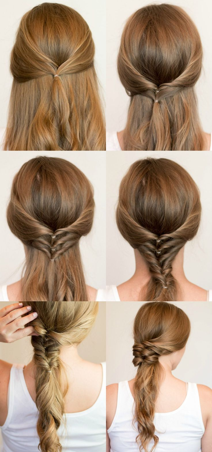 Faux Braided Ponytail hair tutorial | 4 Easy heatless hairstyles for long hair that don't require hair styling skills or braiding! Learn how to create a faux braided ponytail, messy faux fishtail braid, twisted half-up, and messy braided bun in these easy hair tutorial by Orlando, Florida beauty blogger Ashley Brooke Nicholas! #MyHCLook sponsored by Hair Cuttery! | easy hairstyles, no-heat hairstyle, faux braids, faux braid tutorial, how to braid your hair, fishtail braid, long dirty blonde…