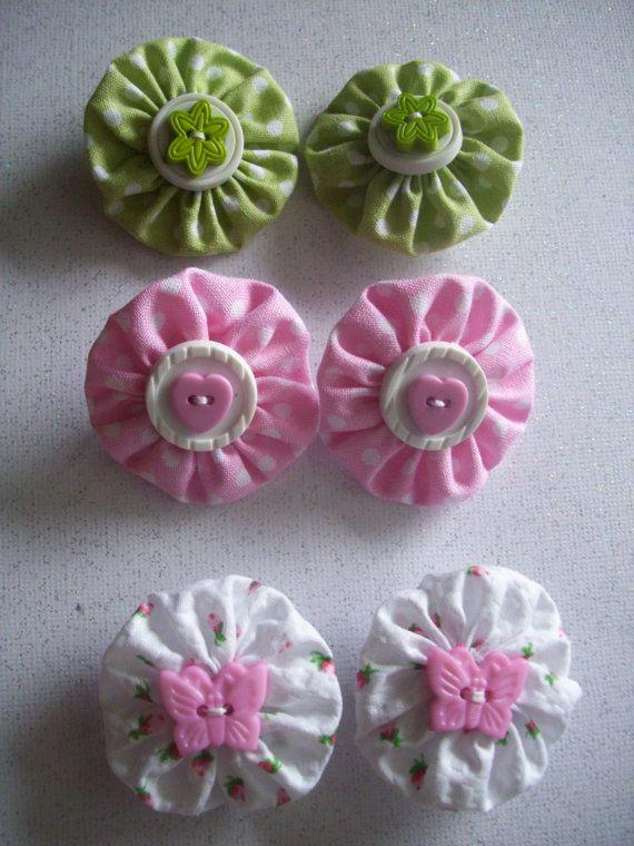 Set of 3 Baby Barrettes Mini Hand-sewn Fabric Yo-Yo Hair Clips Accessories