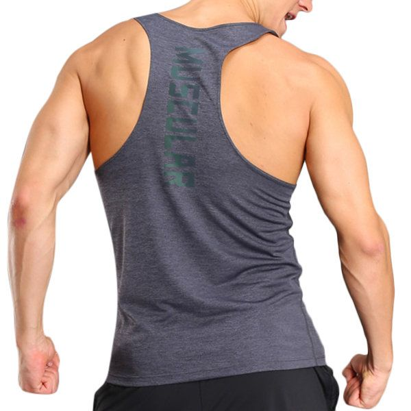 Mens Quick Dry Perspiration Printed Fitness Jogging Sport Tank Tops