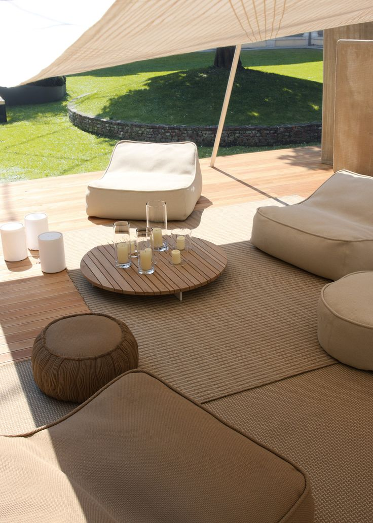 Lovely, Sleek Modern Outdoor Living Area, Decorated in Taupes, Whites and Warm Woods