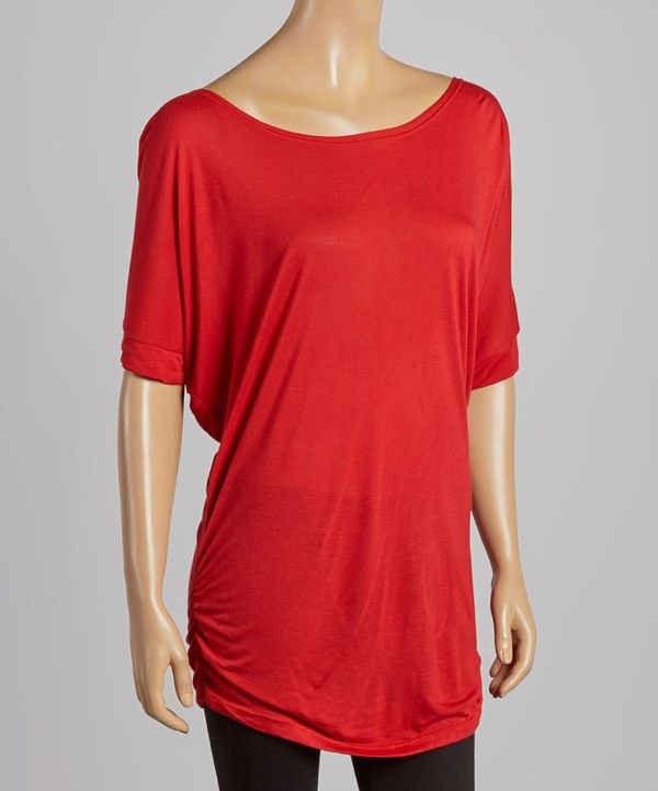 Look at this Casa Lee Red Ruched Tunic on #zulily today!