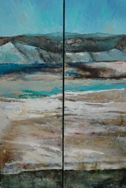 Marjan Nagtegaal. Aardlagen. Aardlagen is een tweeluik. Het schilderij is gemaakt bij de dode zee waar de grond uitgebeten is van het zout.