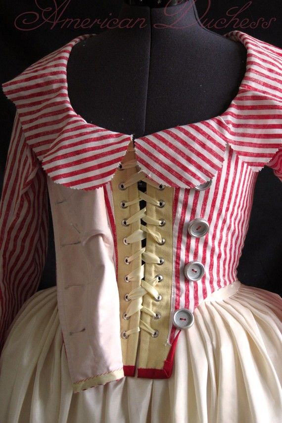 """1790s Red and White Striped Jacket 18th century by """"americanduchess pet en l'air"""" Very clever! I thought Ana Maria would have enjoyed something so bright and modern."""